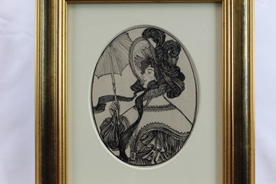 Lot 1769 - Edmund Joseph Sullivan (1869-1933) oval pen and ink on board - Madeline, signed and dated '99, in glazed gilt frame, 15.5cm x 12.5cm  Provenance: Chris Beetles Ltd. London