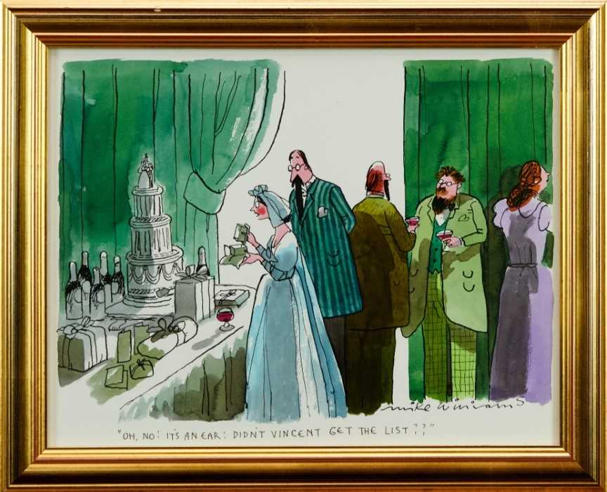 """Lot 1797 - Mike Williams (b.1940) pen, ink and watercolour - """"Oh No! It's An Ear: Didn't Vincent Get The List??"""", signed and inscribed"""