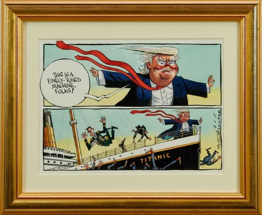 Lot 1794 - Peter Brookes (b.1943) pen, ink and watercolour cartoon - 'This Is A Finely-Tuned Machine, Folks!', signed and dated 18 ii 17, in glazed gilt frame, 22cm x 29cm, Illustrated: The Times, 18th Februa...