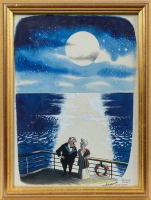 Lot 1746 - Russell Brockbank (1913-1979) pen, ink and watercolour - 'Welcome Home! Dick & Jean', signed and inscribed, in glazed gilt frame, 27cm x 19.5cm  Provenance: Chris Beetles Ltd. London