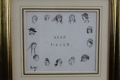 Lot 1747 - Phil May (1864-1903) pen and ink - Head Pieces, signed, in glazed gilt frame, 14cm x 16cm  Provenance: Chris Beetles Ltd. London