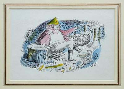 Lot 1748 - *John Ward (1917-2007) pen, ink and watercolour - The Woodcutter, in glazed gilt frame, 13cm x 19cm  Provenance: Chris Beetles Ltd. London