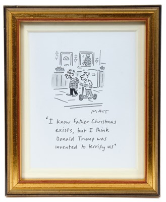 Lot 1782 - Matt (Matt Pritchett (b.1964) pen, ink and watercolour - 'I know Father Christmas exists, but I think Donald Trump was invented to terrify us', signed and titled, in glazed gilt frame, 12.5cm x 10....