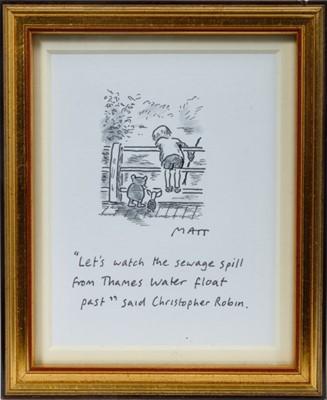 "Lot 1781 - Matt (Matt Pritchett (b.1964) pen, ink and watercolour - '""Let's watch the sewage spill from Thames Water float past"" said Christopher Robin'"