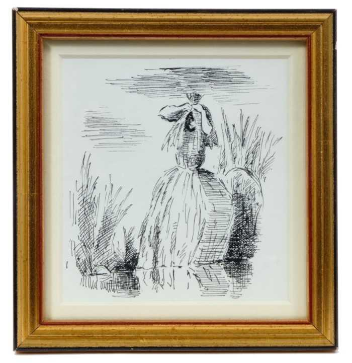 """Lot 1856 - *Edward Ardizzone (1900-1979) pen and ink drawing - """"She went away on and on till she came to a fen..."""", inscribed beneath mount, in glazed gilt"""