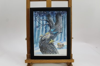 Lot 1886 - Michael Foreman (b.1938) pencil, watercolour and crayon illustration – Owl and his Christmas Guests, from 'The Decorated Forest', signed and titled, in glazed frame, 28cm x 21cm  Provenance: Chris...
