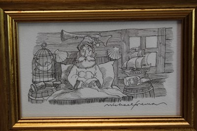 Lot 1883 - Michael Foreman (b.1938) pen and ink illustration - 'He was sitting bolt upright in his bed, with his eyes wide open, watching them!', signed