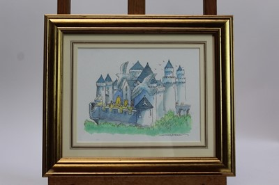 Lot 1884 - Michael Foreman (b.1938) pen, ink, pencil and watercolour illustration – 'The Castle came alive again around them', signed, in glazed gilt frame, 17cm x 22cm