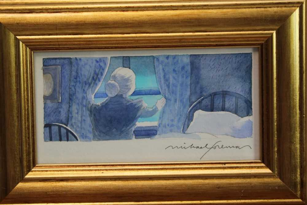 Lot 1885 - Michael Foreman (b.1938) pencil and watercolour - 'The old woman looked of the little window by her bed...', signed, in glazed gilt frame, 7.5cm x 15cm