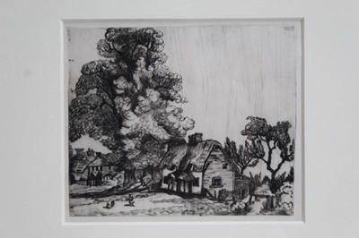 Lot 1854 - James Hamilton Hay (1874-1916) signed etching - Old Houses and Church at Neston, together with another unsigned - Cottages Beneath the Trees, in glazed gilt frames