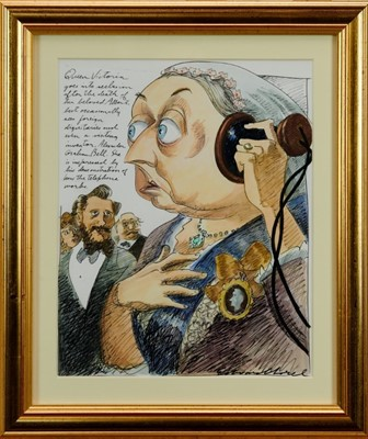Lot 1823 - Edward Sorel (b.1929) pen, ink and watercolour - 'Queen Victoria goes into seclusion after the death of her beloved Albert...', signed and inscribed, in glazed gilt frame, 32cm x 26cm  Provenance:...