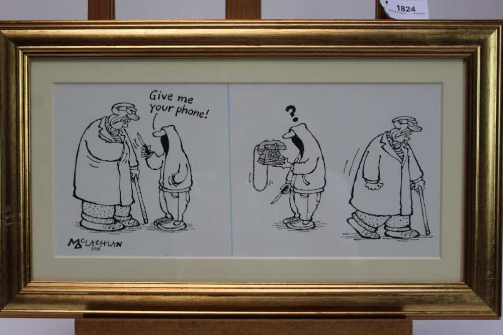 """Lot 1824 - Edward McLachlan (b.1940) pen and ink cartoon - """"Give me your phone!"""", signed and dated 2018, in glazed gilt frame, 16cm x 36cm  Provenance: Chris Beetles Ltd. London"""