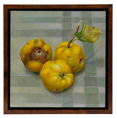 Lot 1866 - Val Archer (b.1946) oil on board - still life Three Quinces, initialled, framed, 20cm square  Provenance: Chris Beetles Ltd. London