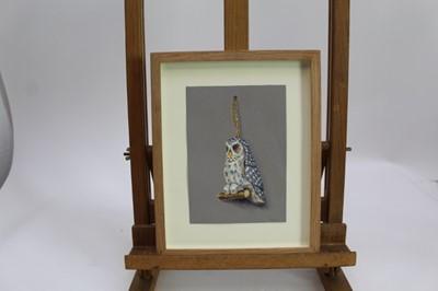 Lot 1867 - Val Archer (b.1946) oil on board - An Owl, initialled, in glazed frame, 18cm x 12.5cm  Provenance: Chris Beetles Ltd. London