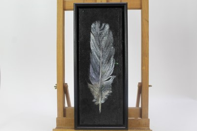Lot 1868 - Val Archer (b.1946) oil on paper laid on board - Owl Feather, initialled, framed, 35cm x 13cm  Provenance: Chris Beetles Ltd. London
