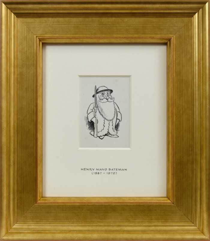 Lot 1737 - *Henry Mayo Bateman (1887-1970) pen and ink drawing - Father Christmas joins the Home Guard, in glazed gilt frame, 7.5cm x 5.5cm  Provenance: Chris Beetles Ltd. London