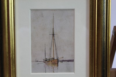 Lot 1871 - William Lionel Wyllie (1851-1931) watercolour - After The Storm, in glazed gilt frame, 11cm x 7.5cm  Provenance: Chris Beetles Ltd. London