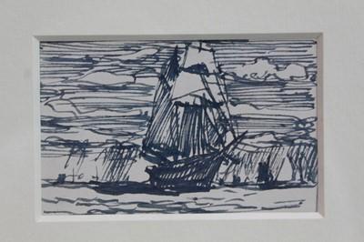 Lot 1872 - William Lionel Wyllie (1851-1931) pen and ink drawing - In Full Sail, in glazed gilt frame, 5.5cm x 8.5cm  Provenance: Chris Beetles Ltd. London