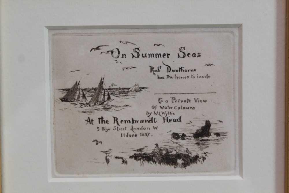 Lot 1873 - William Lionel Wyllie (1851-1931) etching - On Summer Seas, in glazed gilt frame, 8cm x 10cm  Provenance: Chris Beetles Ltd. London