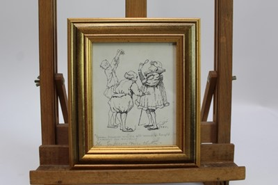 """Lot 1740 - Duncan Carse (1876-1938) pen and ink drawing - """"Heaven Preserve Me!..."""", initialled and inscribed, in glazed gilt frame, 15cm x 12cm  Provenance: Chris Beetles Ltd. London"""