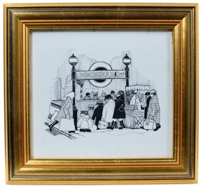 Lot 1739 - Barry Leith (b.1943) pen and ink illustration - 'It was quite a long walk to get to the underground', in glazed gilt frame, 17.5cm x 19cm  Provenance: Chris Beetles Ltd. London