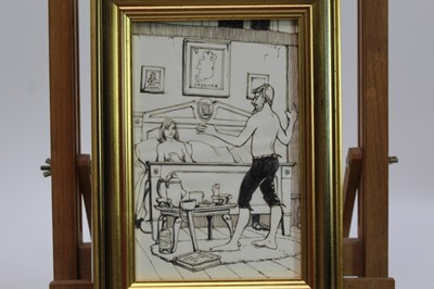 Lot 1741 - Peter Mackarell (1933-1988) two pen, ink and pencil illustrations from Bevis Hillier's 'Going For A Song, An Anthology Of Poems' - An Irish Folksong and The Treasure Box, in glazed gilt frames,.