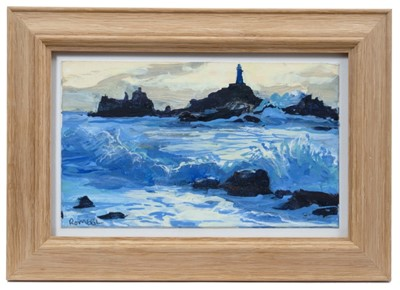 Lot 1738 - Nicholas Romeril (b.1967) acrylic and coloured pencil on card - Corbiere, Dark Evening, signed, in glazed frame, 12.5cm x 20.5cm  Provenance: Chris Beetles Ltd. London