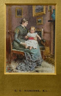 "Lot 1828 - George Goodwin Kilburne (1839-1924) watercolour - ""This little piggy went to market"", initialled, in glazed gilt frame, 12cm x 8.5cm  Provenance: Chris Beetles Ltd. London"