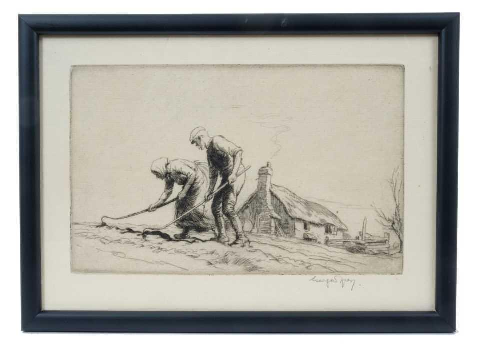 Lot 1702 - George Soper (1870-1942) signed etching - Toil, in glazed frame, 16cm x 23.5cm  Provenance: Chris Beetles Ltd. London