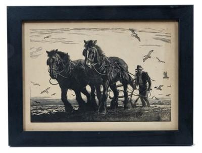 Lot 1703 - George Soper (1870-1942) woodcut - The Plough, 1939, in glazed frame, 15cm x 21cm  Provenance: Chris Beetles Ltd. London
