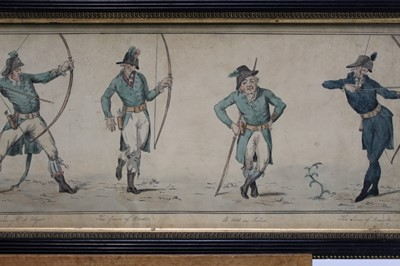 Lot 1822 - 19th century English School, pen and ink drawing - The Graces of Archery, inscribed, in glazed frame, 18.5cm x 52.5cm