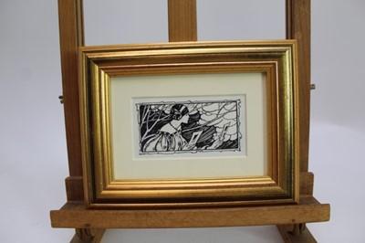 Lot 1736 - Florence Harrison (1877-1955) pen and ink - Holding Pictures, in glazed gilt frame, 7cm x 12.5cm  Provenance: Chris Beetles Ltd. London