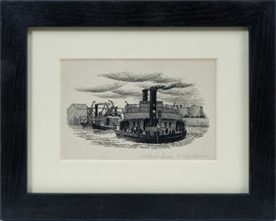 Lot 1841 - *Stanley Roy Badmin (1906-1989) pen and ink drawing - Woolwich Ferry, initialled and titled, in glazed frame, 8cm x 12cm