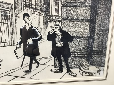 """Lot 1811 - *Giles, Carl Ronald Giles O.B.E. (1916-1995) pen and ink cartoon – """"Psst! Feelthy Banned BMA Book On Getting Married"""", signed, titled"""