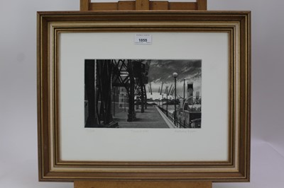 Lot 1855 - Anthony Dyson signed limited edition etching - Towards 2000, 172/250, in glazed gilt frame, together with an unframed etching 'Time-Bytes', with related paperwork