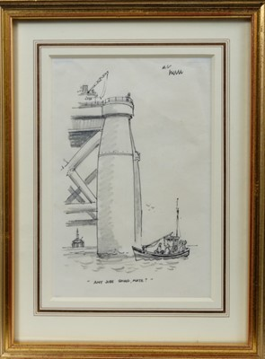"""Lot 1732 - *Norman Thelwell (1923-2004) pen, ink and pencil - """"Any Jobs Going Mate"""", in glazed gilt frame, 19cm x 13cm  Provenance: Chris Beetles Gallery"""