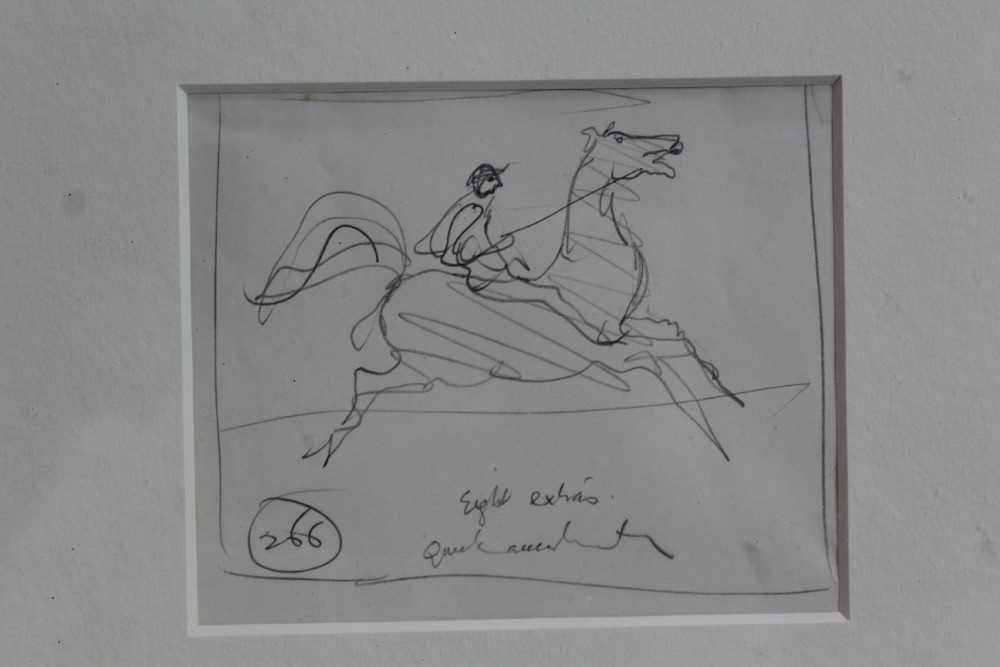 Lot 1846 - *Ronald Searle (1920-2011) pencil sketch - Quick Acceleration, in glazed gilt frame, 10cm x 12.5cm