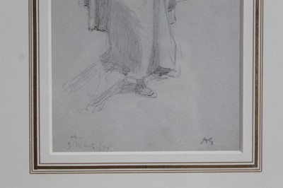 Lot 1842 - Albert Goodwin (1845-1932) pencil and crayon sketch - Maiden With a Basket, initialled, in glazed gilt frame