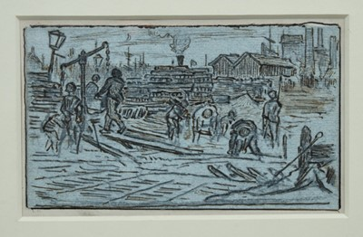 Lot 1843 - Albert Goodwin (1845-1932) pen, ink and pencil - The Docks, in glazed gilt frame