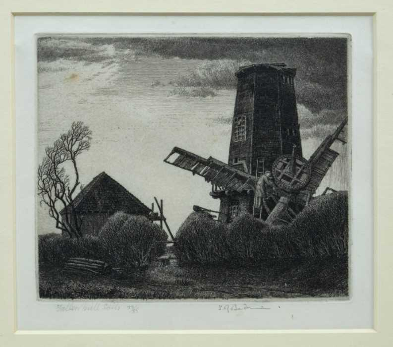 Lot 1839 - *Stanley Roy Badmin (1906-1989) signed limited edition etching - Fallen Mill Sails, 33/35, in glazed gilt frame