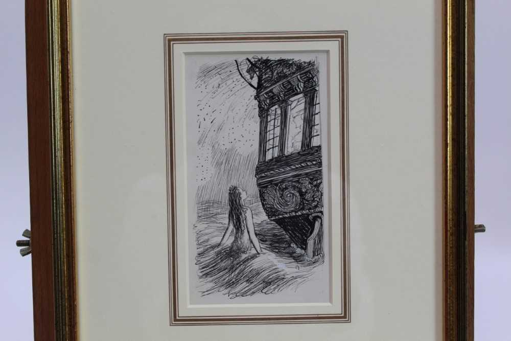 Lot 1836 - *Ernest Howard Shepard (1879-1976) pen and ink - The Mermaid Looked Through the Lighted Window, in glazed gilt frame  Provenance: Chris Beetles Gallery