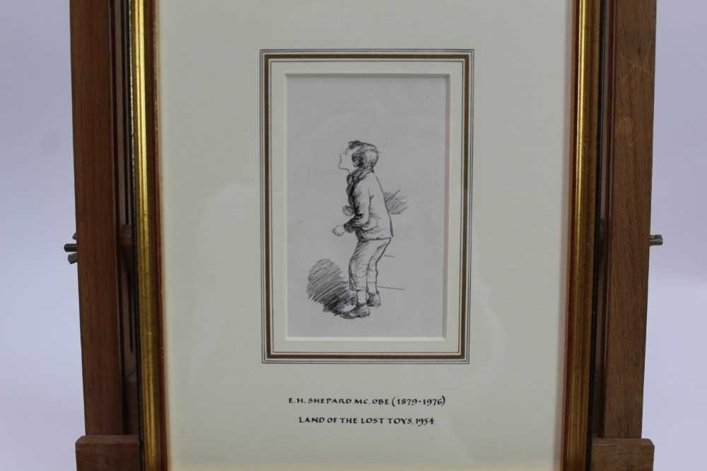 Lot 1835 - *Ernest Howard Shepard (1879-1976) pen and ink - Come up Here, Land of the Lost Toys, in glazed gilt frame  Provenance: Chris Beetles Gallery