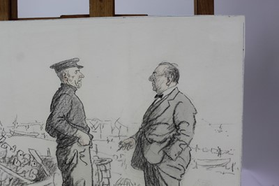 Lot 1864 - George Belcher (1875-1947) chalk and wash - The Visitor and The Fisherman, signed and inscribed, mounted