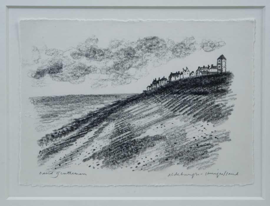 Lot 1754 - *David Gentleman (b.1930) pencil drawing - Aldeburgh, signed and inscribed, in glazed frame