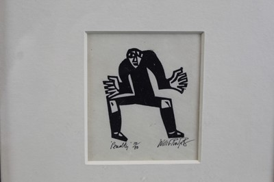 Lot 1833 - Willie Rodger signed limited edition linocut - Penalty, 10/30, in glazed frame  Provenance: Thompson's, Aldeburgh