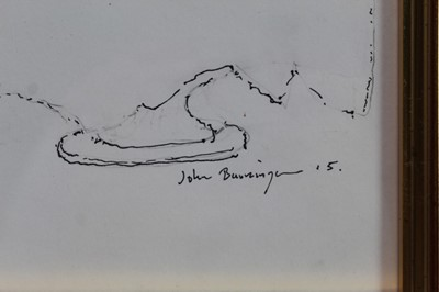 Lot 1875 - John Burningham (1936-2019) pen and ink sketch - Champagne with Noel Coward, signed and dated '15, in glazed gilt frame