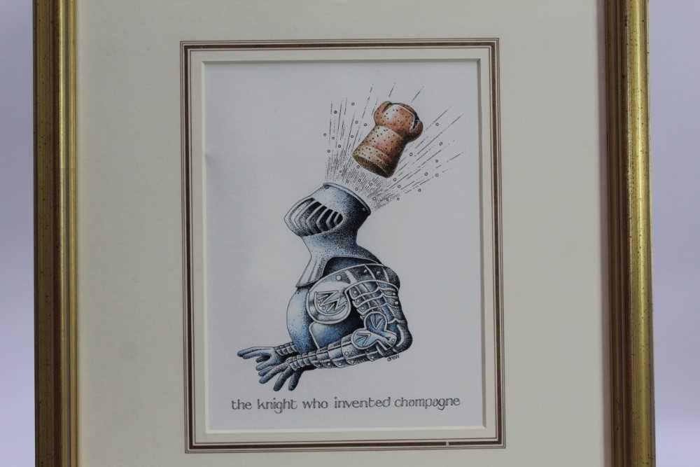 Lot 1758 - Simon Drew (b.1952) pen, ink and crayon - The Knight who invented Champagne, signed, in glazed gilt frame  Provenance: Chris Beetles Gallery