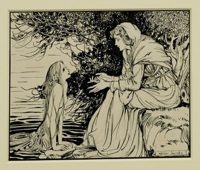 Lot 1759 - Helen Jacobs (1880-1970) pen and ink - Prosperina and the Nymph, signed, in glazed gilt frame  Provenance: Chris Beetles Gallery
