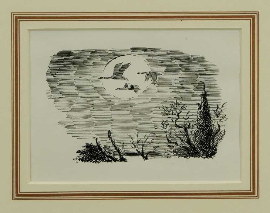 Lot 1881 - *Edward Ardizzone (1900-1979) pen and ink - Flight of the Swans, in glazed gilt frame