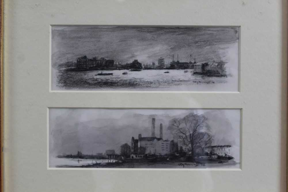 Lot 1831 - Roy Hammond (b.1934) pair of charcoal and monochrome watercolours - Battersea & Chelsea, signed and dated '98, in glazed gilt frame, as one  Provenance: Chris Beetles Gallery